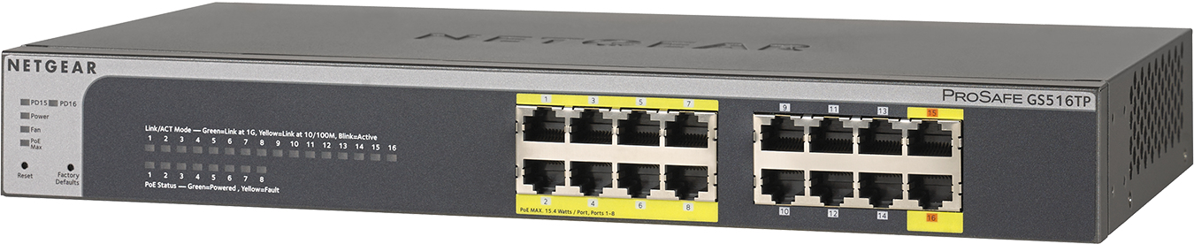 NETGEAR GS516TP UNMANAGED NETWORK SWITCH GIGABIT ETHERNET POWER OVER (POE) BLACK, GREY