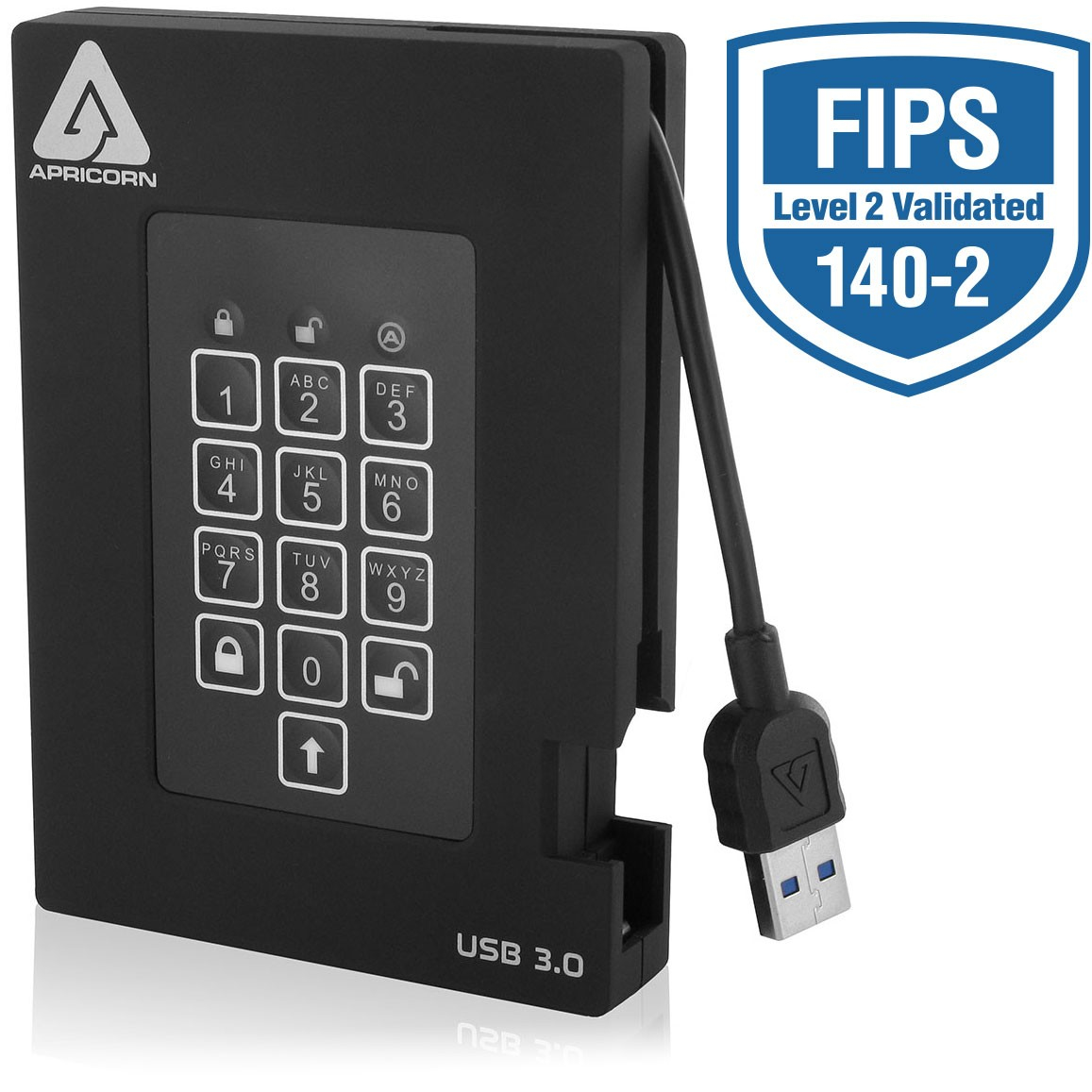 APRICORN A25-3PL256-2000F AEGIS PADLOCK FORTRESS 2000GB BLACK EXTERNAL HARD DRIVE