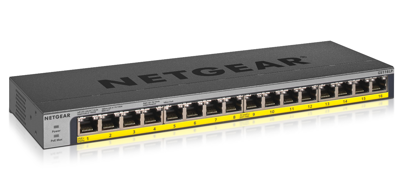 NETGEAR GS116LP UNMANAGED GIGABIT ETHERNET POWER OVER (POE) BLACK