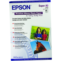 EPSON PREMIUM GLOSSY PHOTO PAPER, DIN A3+, 250G/M, 20 SHEETS
