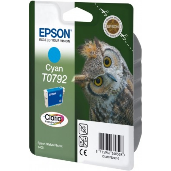 EPSON C13T07924010 (T0792) INK CARTRIDGE CYAN, 1.35K PAGES, 11ML