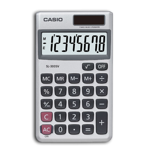 CASIO SL-300SV POCKET BASIC SILVER CALCULATOR