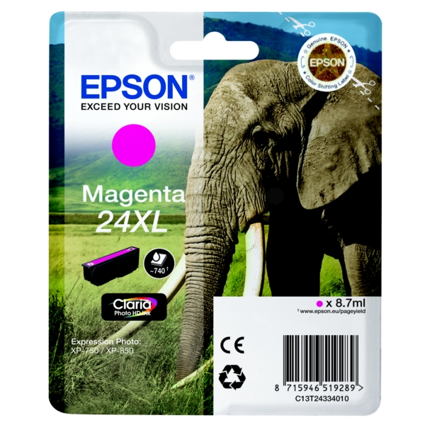 EPSON C13T24334012 (24XL) INK CARTRIDGE MAGENTA, 500 PAGES, 9ML