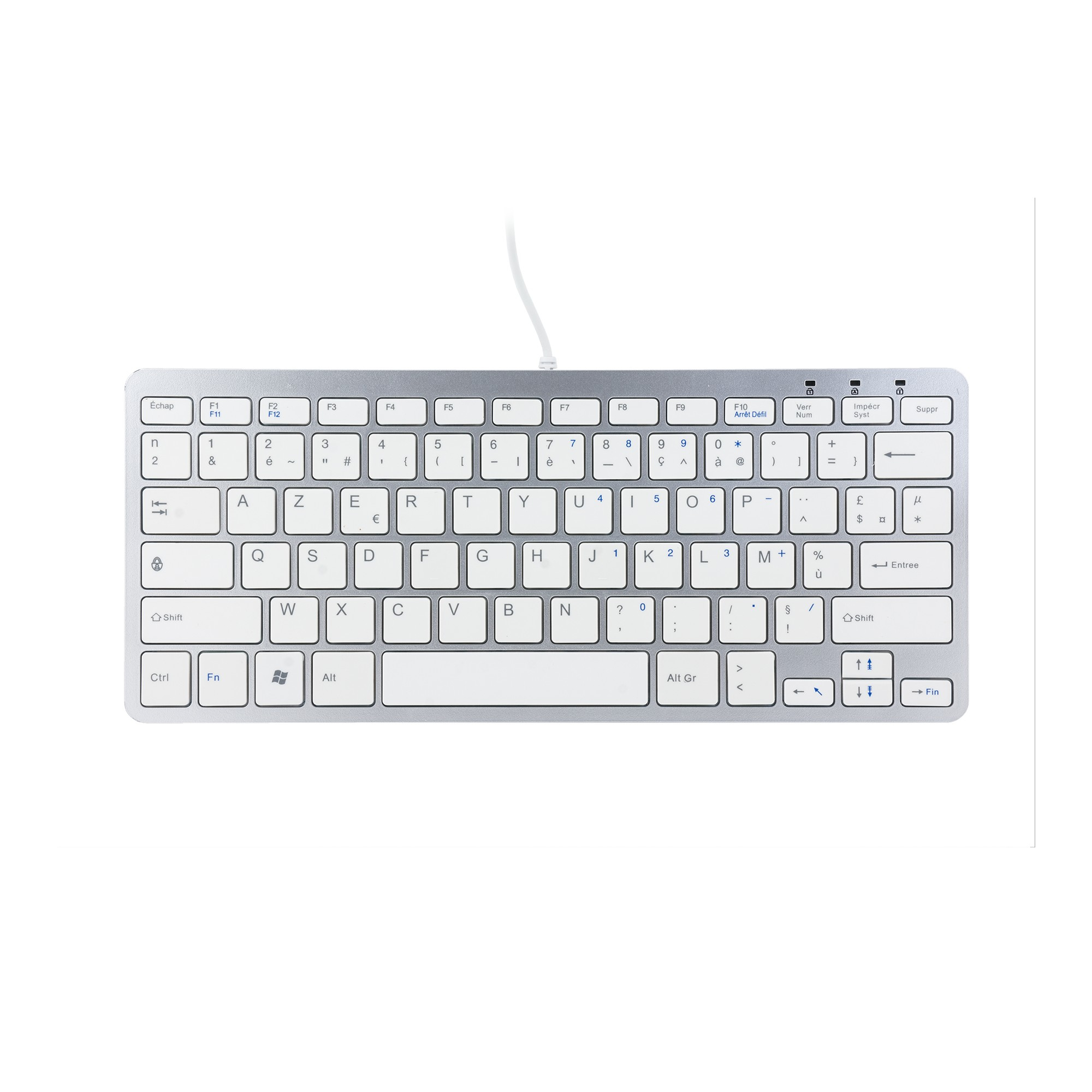 R-GO TOOLS RGOECAYW COMPACT KEYBOARD, AZERTY (FR), WHITE, WIRED