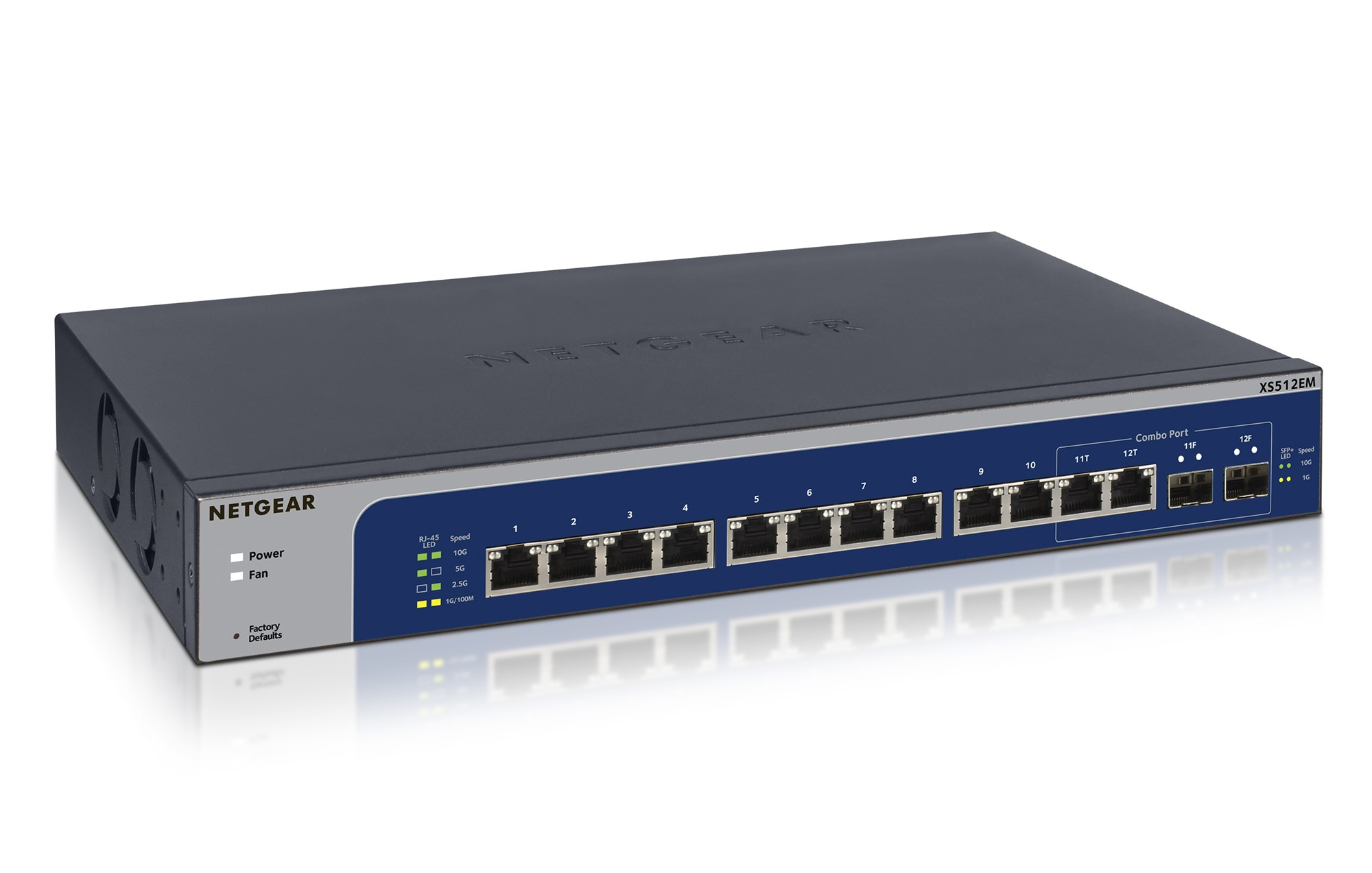 NETGEAR XS512EM MANAGED L2 10G ETHERNET (100/1000/10000) 1U BLUE, GREY