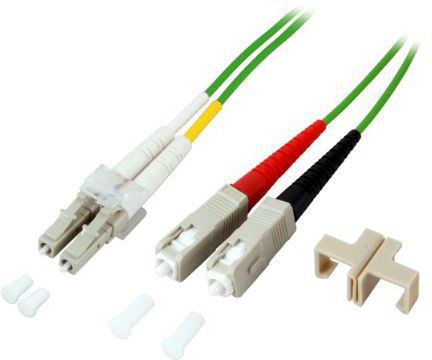 MICROCONNECT FIB561002 2M LC/UPC SC/UPC OM5 GREEN FIBER OPTIC CABLE