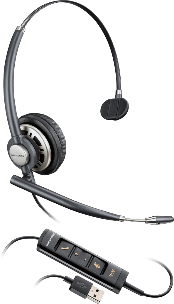 PLANTRONICS 203476-01 ENCOREPRO HW715 MONAURAL HEAD-BAND BLACK, SILVER HEADSET