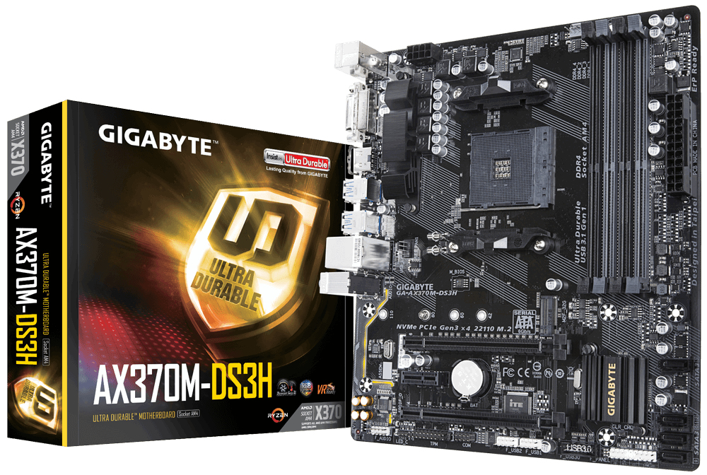 GIGABYTE GA-AX370M-DS3H AMD X370 SOCKET AM4 MICRO ATX MOTHERBOARD