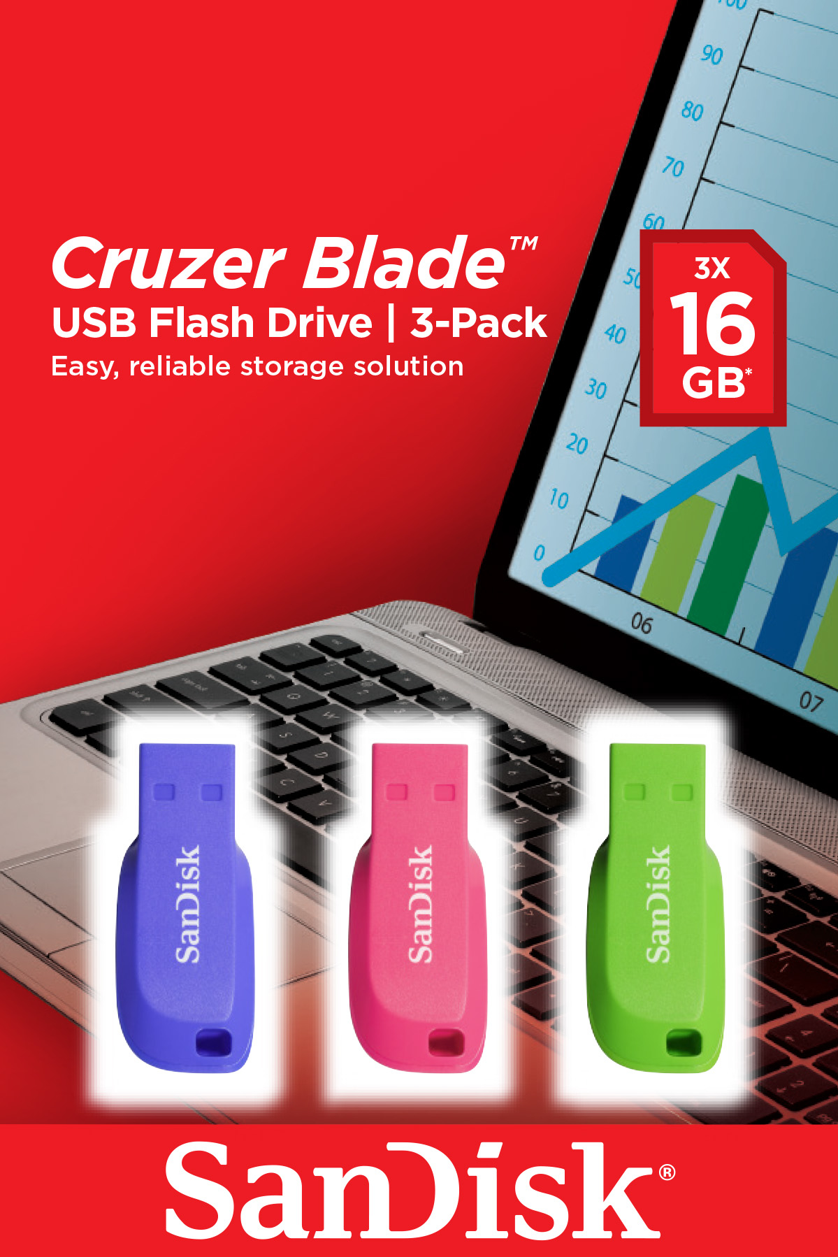 SANDISK CRUZER BLADE 16GB USB 2.0 TYPE-A CONNECTOR BLUE, GREEN, PINK FLASH DRIVE