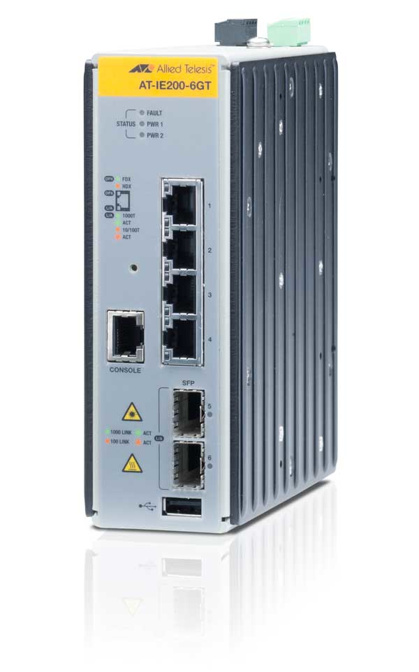 ALLIED TELESIS AT-IE200-6GT-80 MANAGED INDUSTRIAL SWITCH WITH 2 X 100 - 1000 SFP, 4 10 1000T