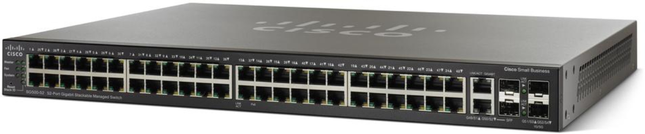 CISCO SG500-52MP-K9-G5 SG500-52MP MANAGED NETWORK SWITCH L2 GIGABIT ETHERNET POWER OVER (POE) 1U BLACK