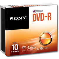 SONY DVD-R, 16X SLIM CASE, 10 PACK
