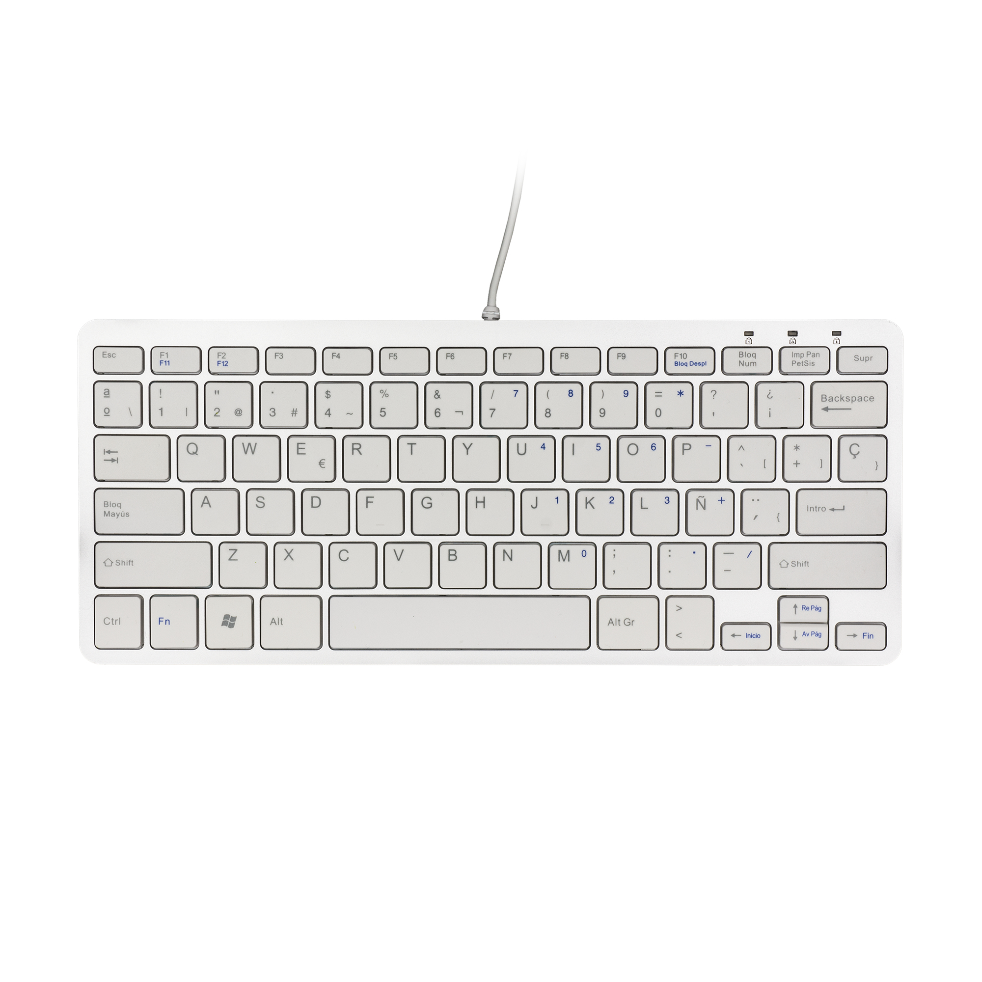 R-GO TOOLS RGOECESPW COMPACT KEYBOARD, QWERTY (ES), WHITE, WIRED