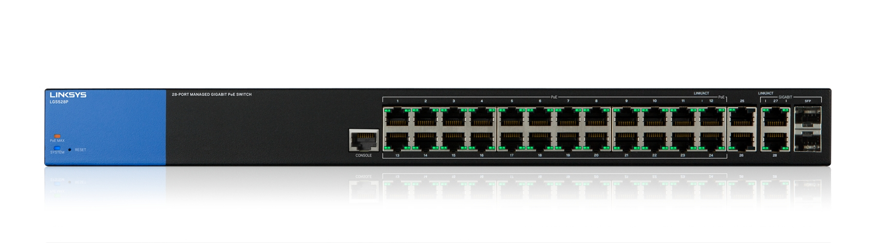 LINKSYS 28-PORT MANAGED POE+ GIGABIT SWITCH (LGS528P)
