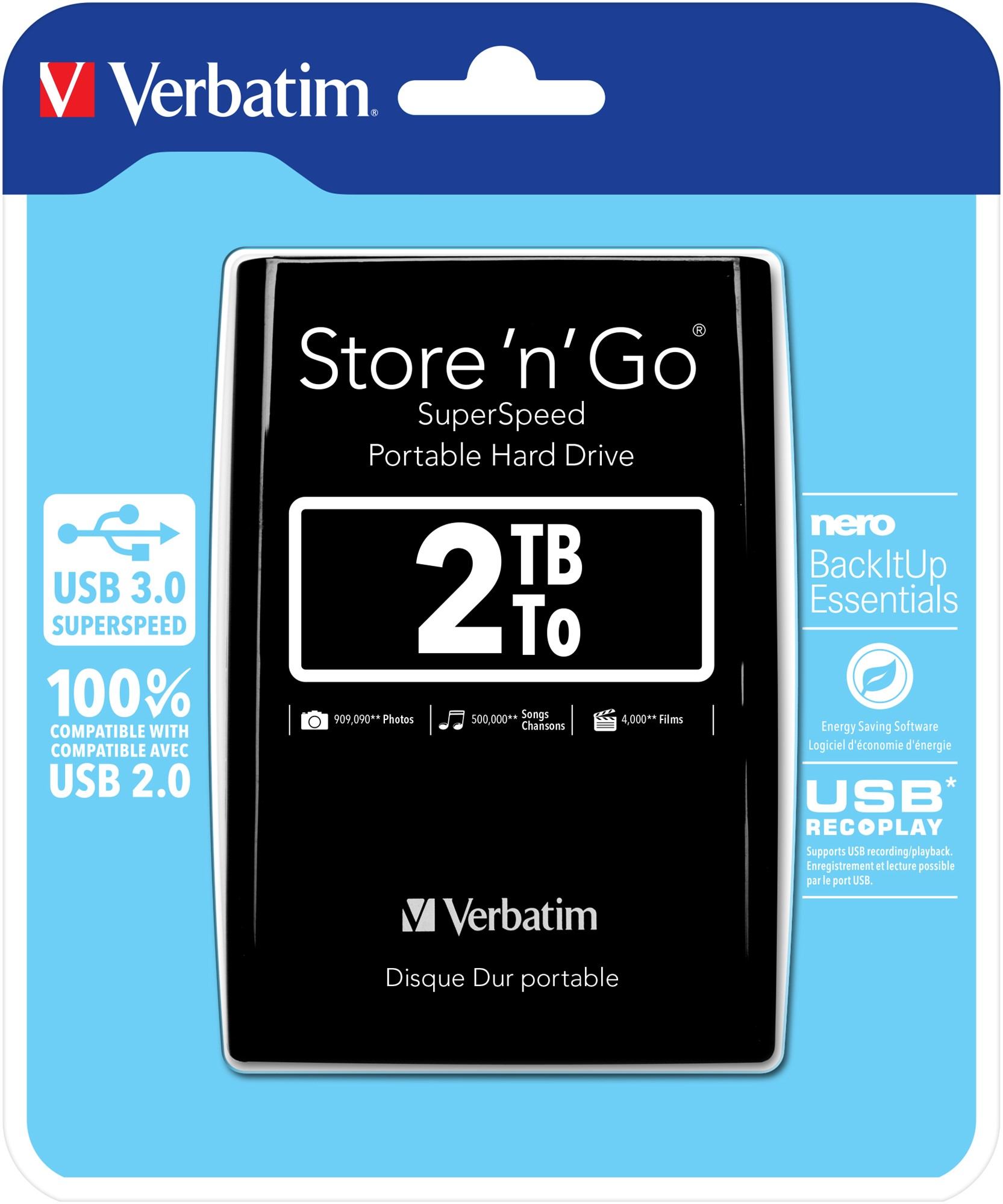 VERBATIM 53177 STORE 'N' GO 2048GB BLACK EXTERNAL HARD DRIVE