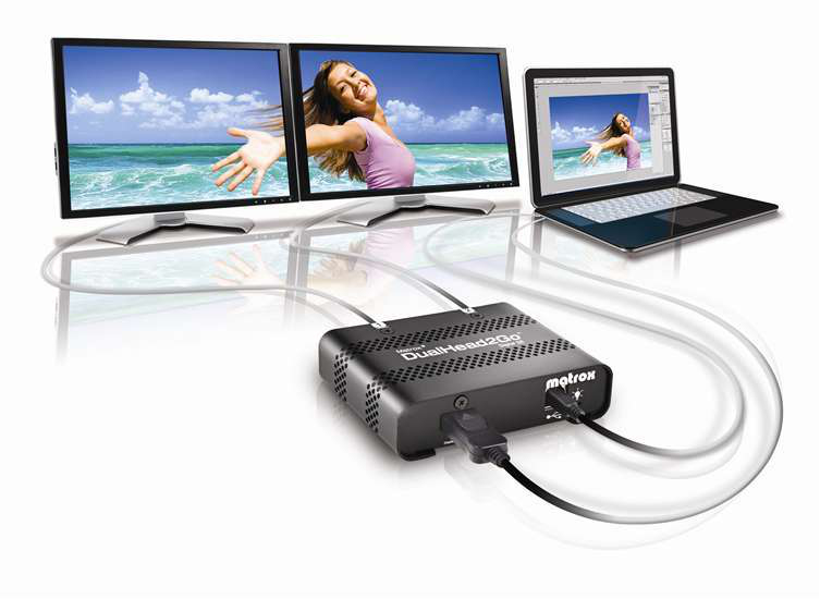 MATROX D2G-DP2D-IF DUALHEAD2GO DIGITAL SE, DISPLAYPORT, 2X DVI-D, 3840X1200 MAX.