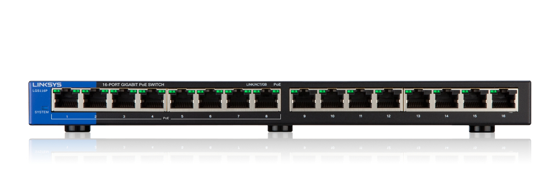 LINKSYS 16-PORT DESKTOP GIGABIT POE SWITCH (LGS116P)
