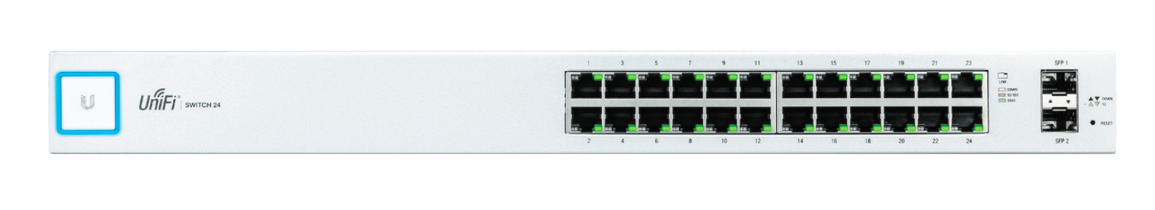 UBIQUITI NETWORKS US-24 UNIFI MANAGED NETWORK SWITCH GIGABIT ETHERNET 1U WHITE