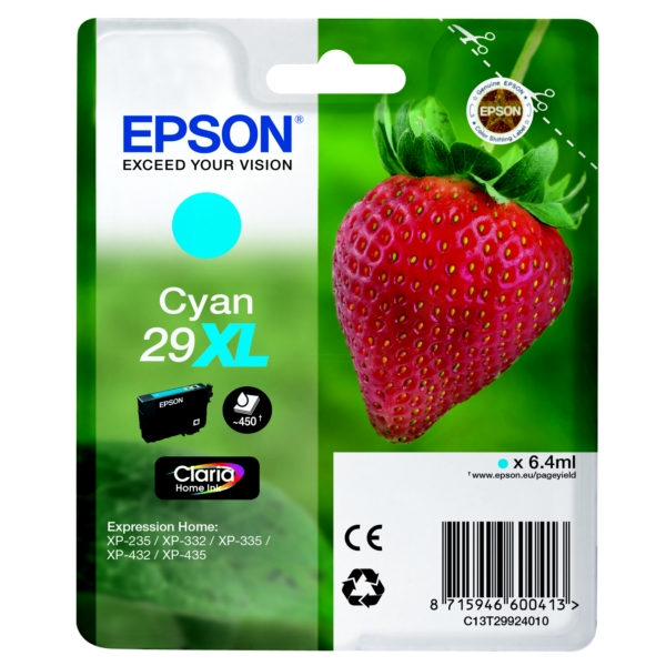 EPSON C13T29924022 (29XL) INK CARTRIDGE CYAN, 450 PAGES, 6ML