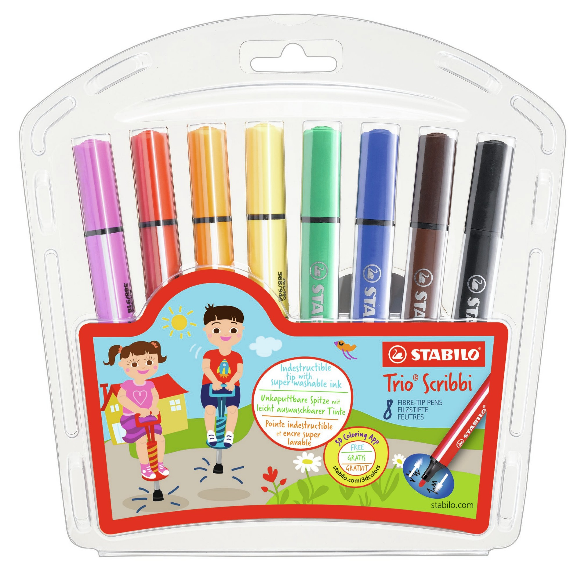 STABILO 368/8-01 TRIO SCRIBBI BOLD MULTICOLOUR 8PC(S) FELT PEN