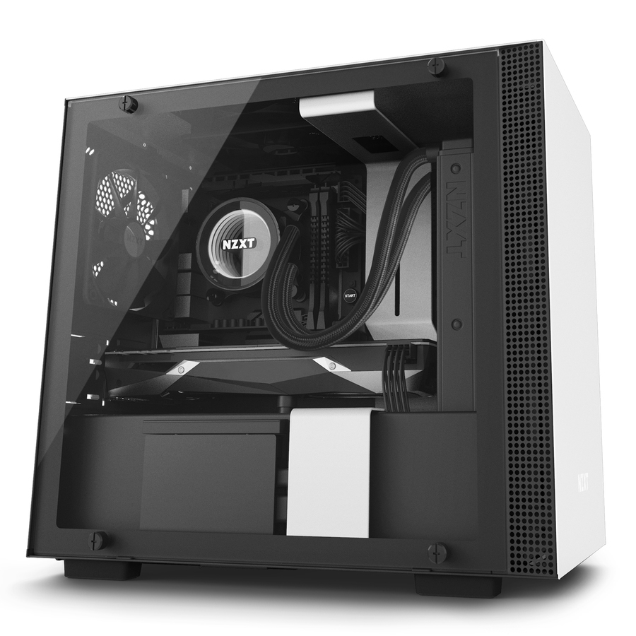 NZXT CA-H200W-WB H200I MINI-TOWER BLACK, WHITE COMPUTER CASE