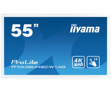 IIYAMA PROLITE TF5538UHSC-W1AG 3840 X 2160PIXELS MULTI-TOUCH MULTI-USER WHITE TOUCH SCREEN MONITOR