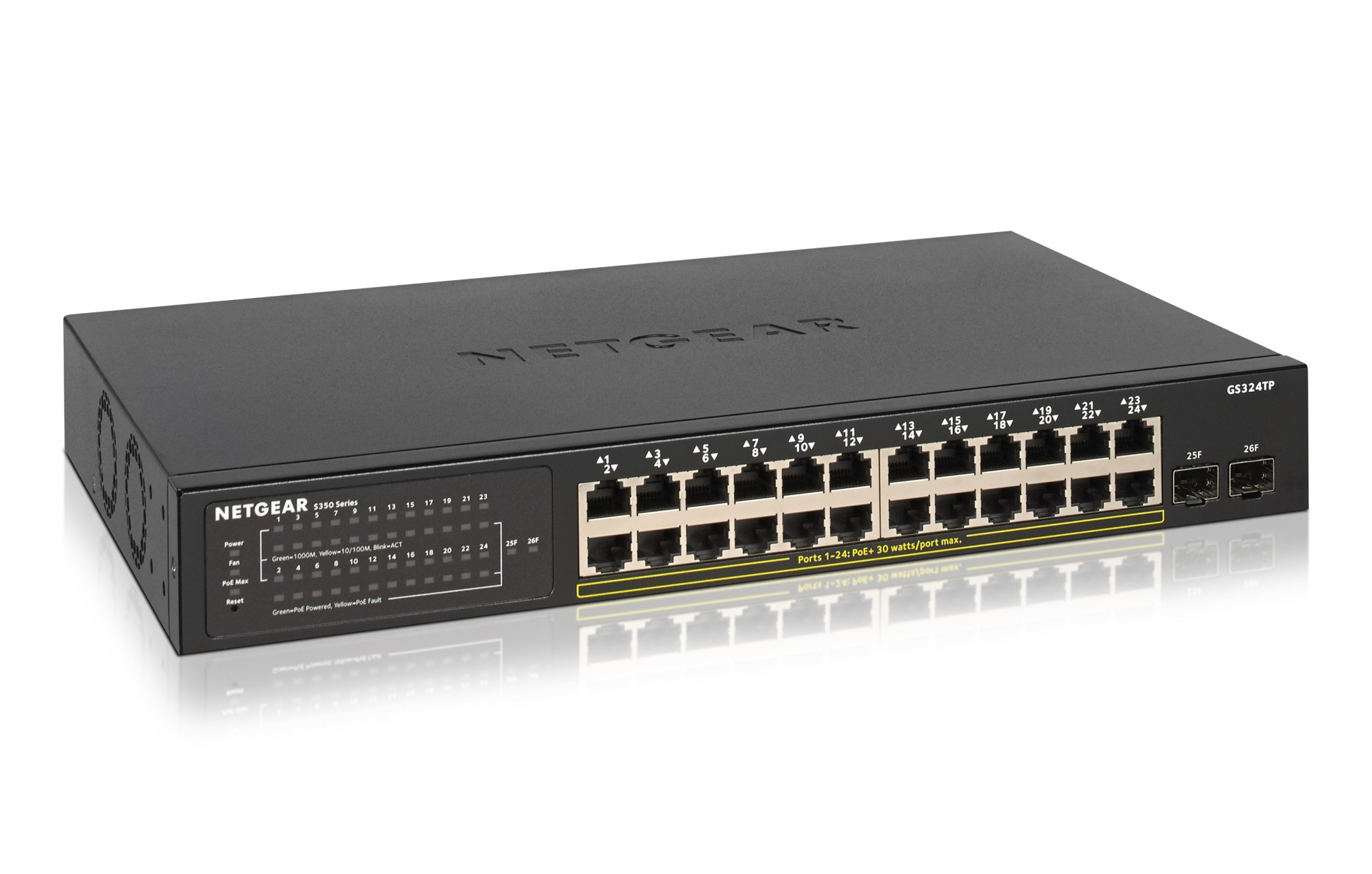 Netgear GS324TP Managed Gigabit Ethernet (10/100/1000) Black Power over Ethernet (PoE)