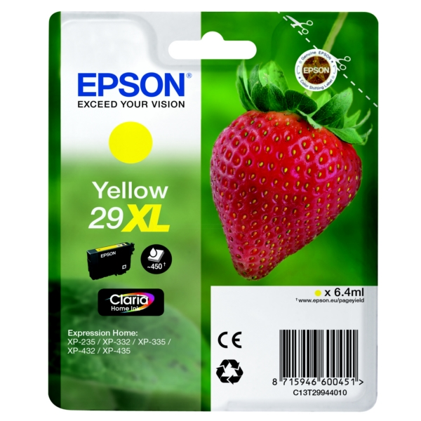 EPSON C13T29944022 (29XL) INK CARTRIDGE YELLOW, 450 PAGES, 6ML
