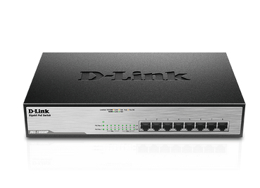 D-LINK DGS-1008MP UNMANAGED NETWORK SWITCH GIGABIT ETHERNET POWER OVER (POE) 1U BLACK