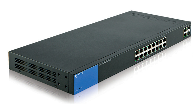 LINKSYS LGS318P MANAGED NETWORK SWITCH GIGABIT ETHERNET POWER OVER (POE) BLACK, BLUE
