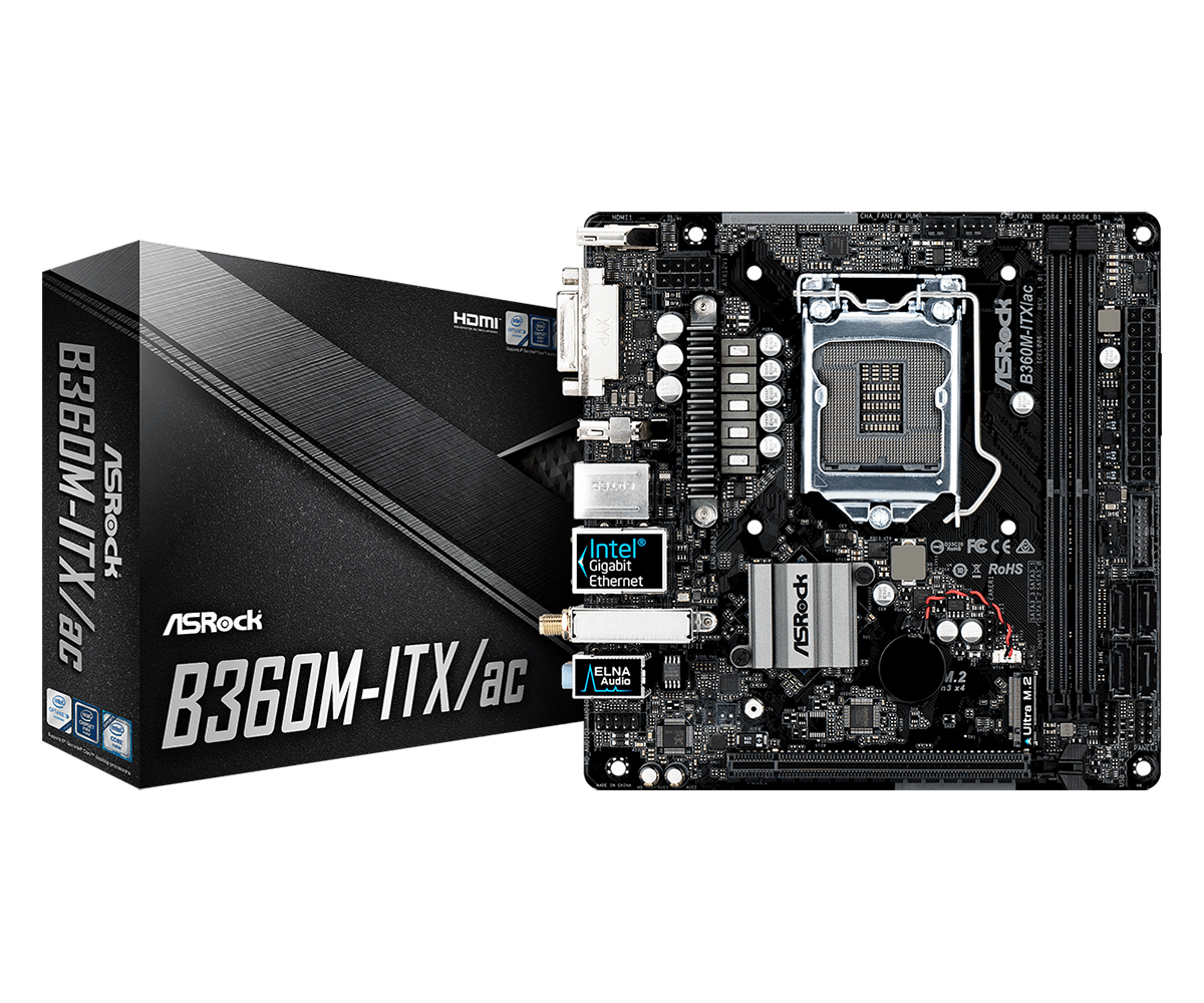 ASROCK INTEL B360, 2 X DDR4 MAX. 32GB, BIOS, LAN, WLAN, MINI-ITX