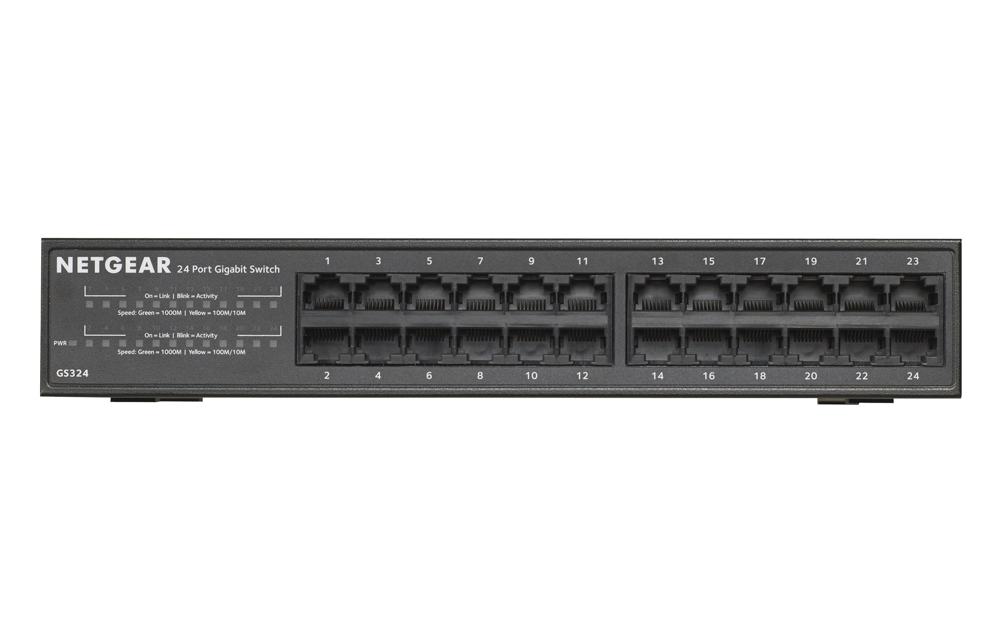 NETGEAR GS324 UNMANAGED NETWORK SWITCH GIGABIT ETHERNET 1U BLACK