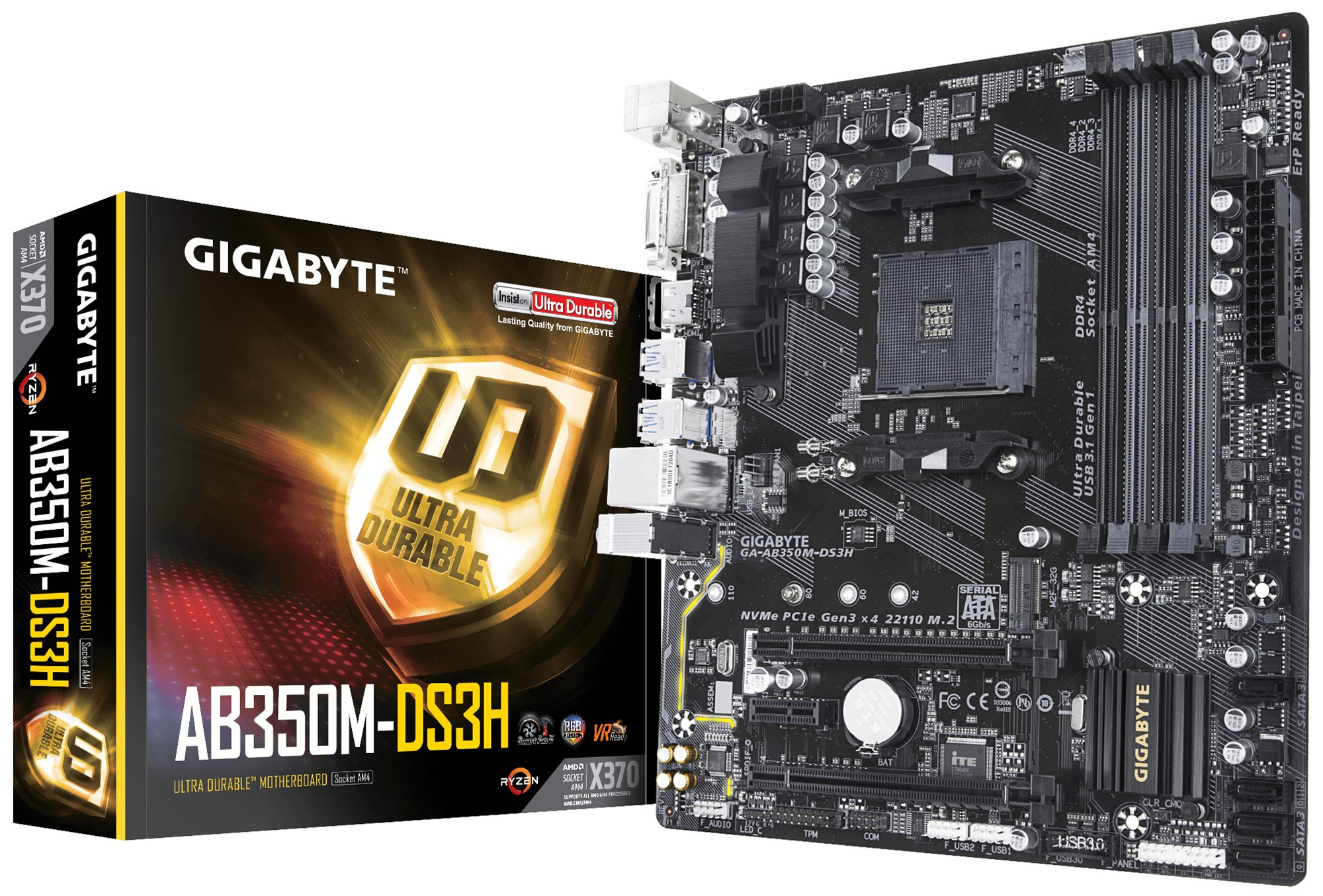 GIGABYTE GA-AB350M-DS3H AMD X370 SOCKET AM4 MICRO ATX MOTHERBOARD