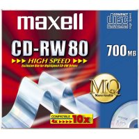 MAXELL 626001 CD-RW 700MB 80MIN 1-10X HIGHSPEED JC 10PK 10PC(S)