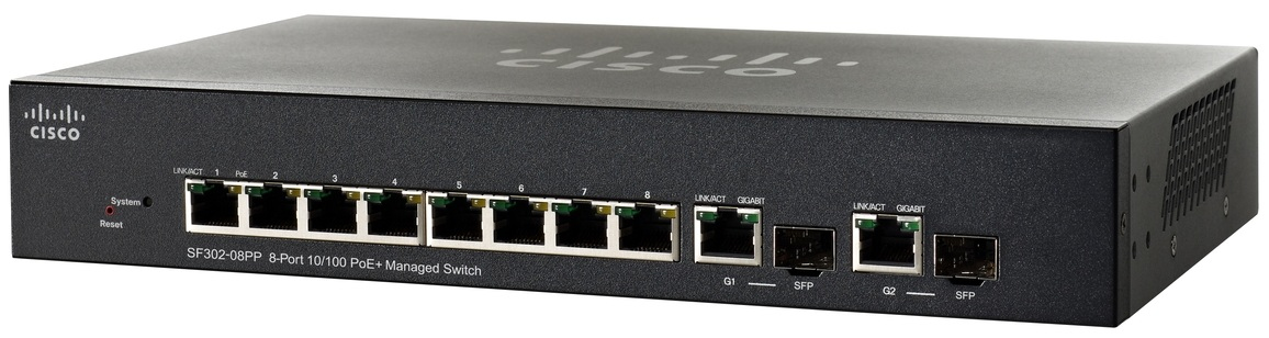 CISCO SF302-08PP-K9-UK SMALL BUSINESS SF302-08PP MANAGED NETWORK SWITCH L3 FAST ETHERNET (10 - 100) POWER OVER (POE) BLACK