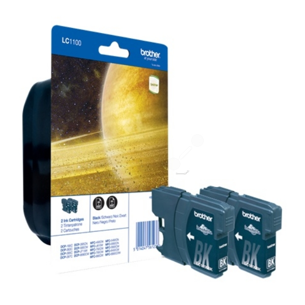BROTHER LC-1100BKBP2DR INK CARTRIDGE BLACK, 450 PAGES, 10ML, PACK QTY 2