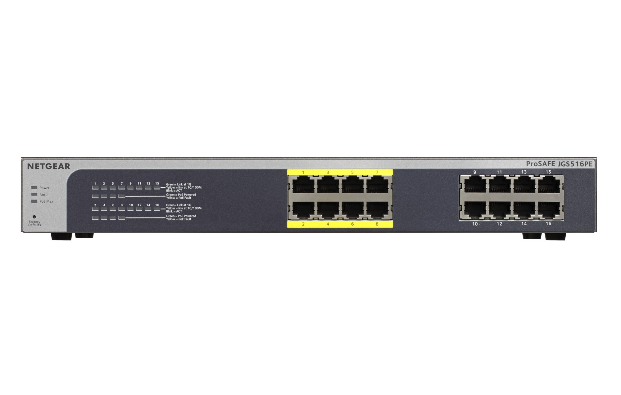 NETGEAR PROSAFE PLUS JGS516PE UNMANAGED NETWORK SWITCH L3 GIGABIT ETHERNET POWER OVER (POE) BLACK