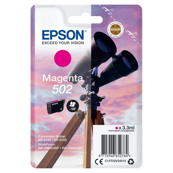 EPSON C13T02V34010 (502) INK CARTRIDGE MAGENTA, 160 PAGES, 3ML