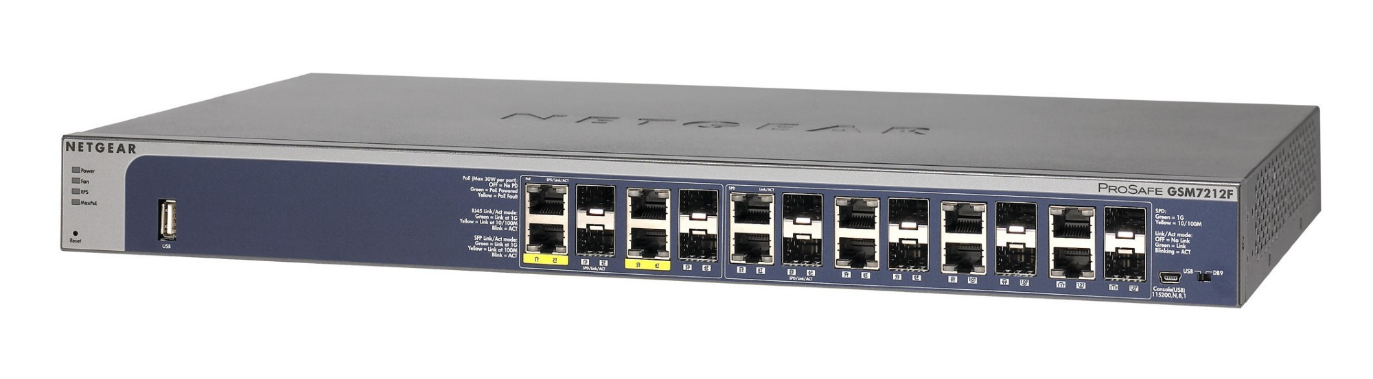 NETGEAR PROSAFE GSM7212F MANAGED NETWORK SWITCH L2+ POWER OVER ETHERNET (POE) GREY
