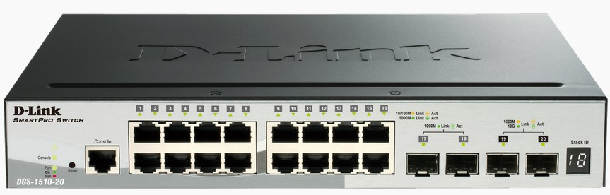 D-LINK DGS-1510-20 MANAGED NETWORK SWITCH L3 GIGABIT ETHERNET BLACK