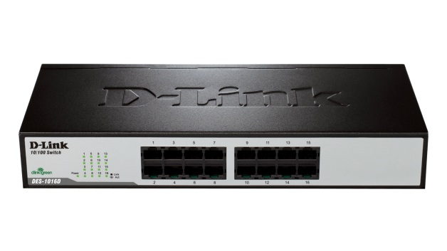 D-LINK DES-1016D UNMANAGED NETWORK SWITCH FAST ETHERNET (10/100) BLACK
