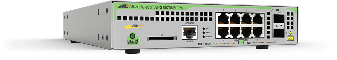 ALLIED TELESIS AT-GS970M/10PS L3, MANAGED, 8X 10 - 100 1000T POE, 2X 1000X SFP