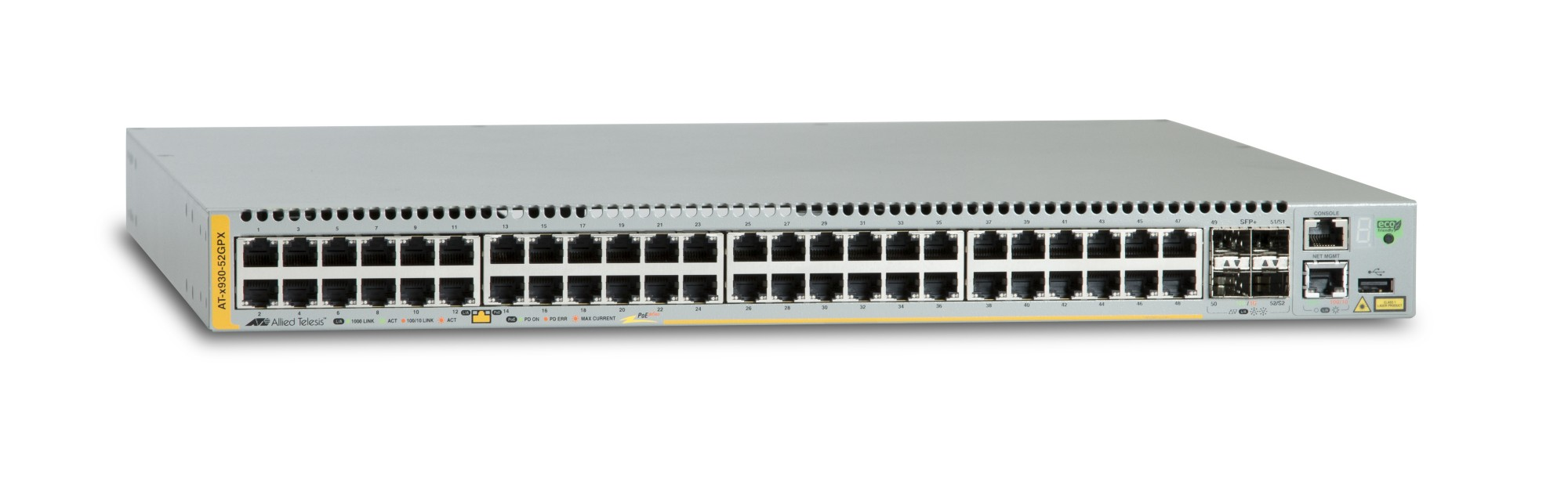 ALLIED TELESIS AT-X930-52GPX MANAGED NETWORK SWITCH L3 GIGABIT ETHERNET (10/100/1000) POWER OVER (POE) GREY