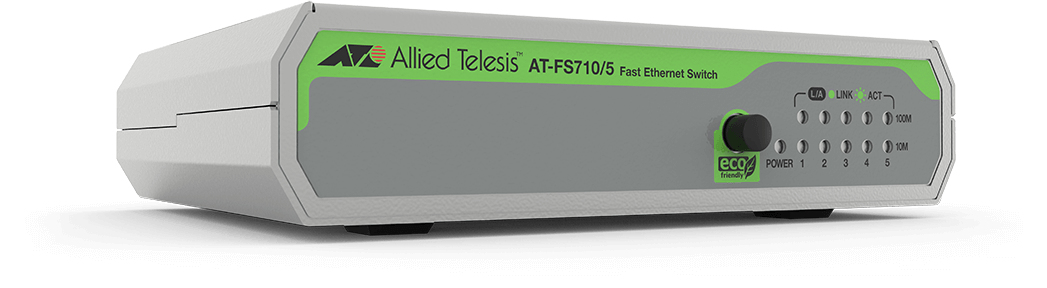 ALLIED TELESIS FS710/5 - 5-PORT 10/100TX, 1GBPS, 0.74MPPS, 1.8W