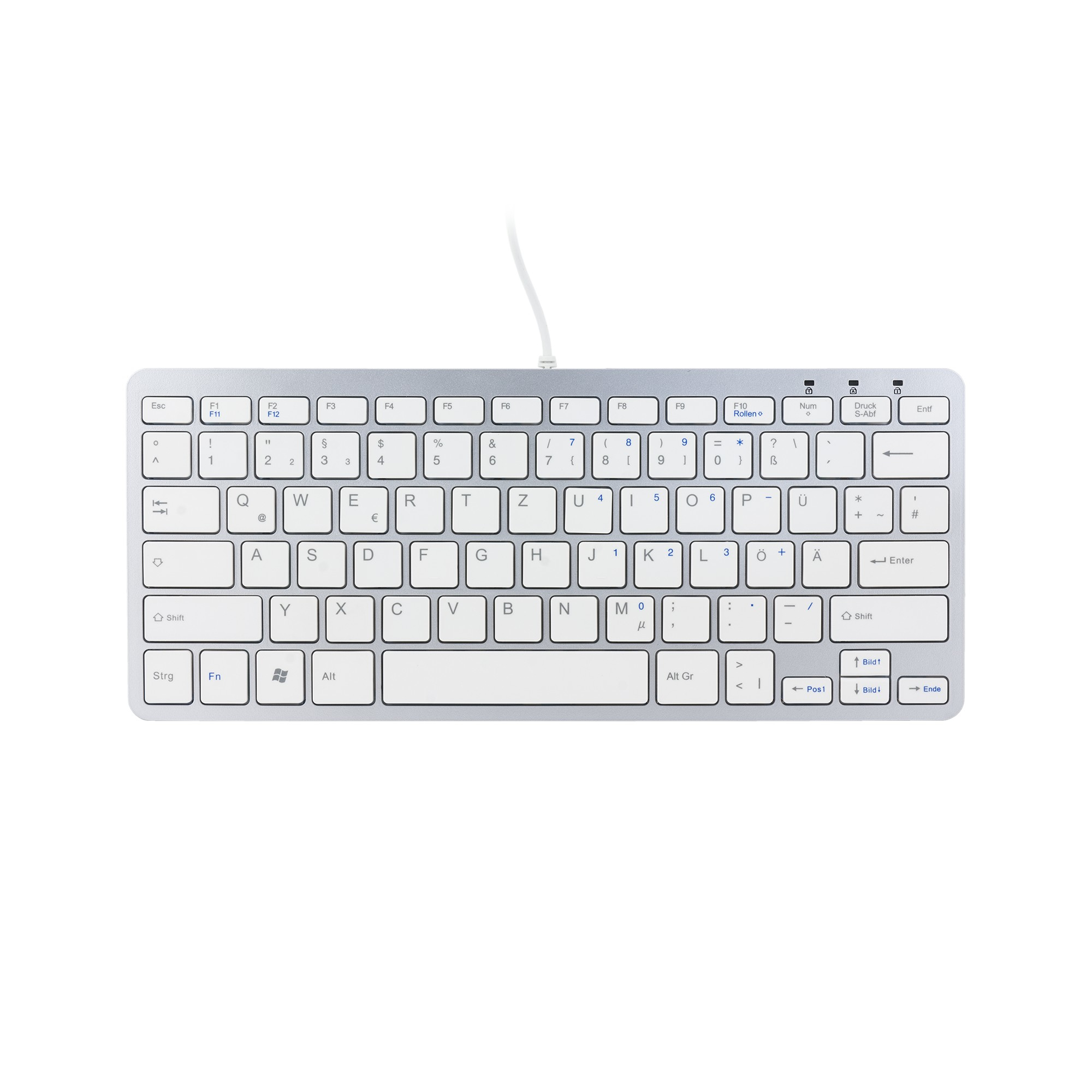 R-GO TOOLS RGOECQZW COMPACT KEYBOARD, QWERTZ (DE), WHITE, WIRED