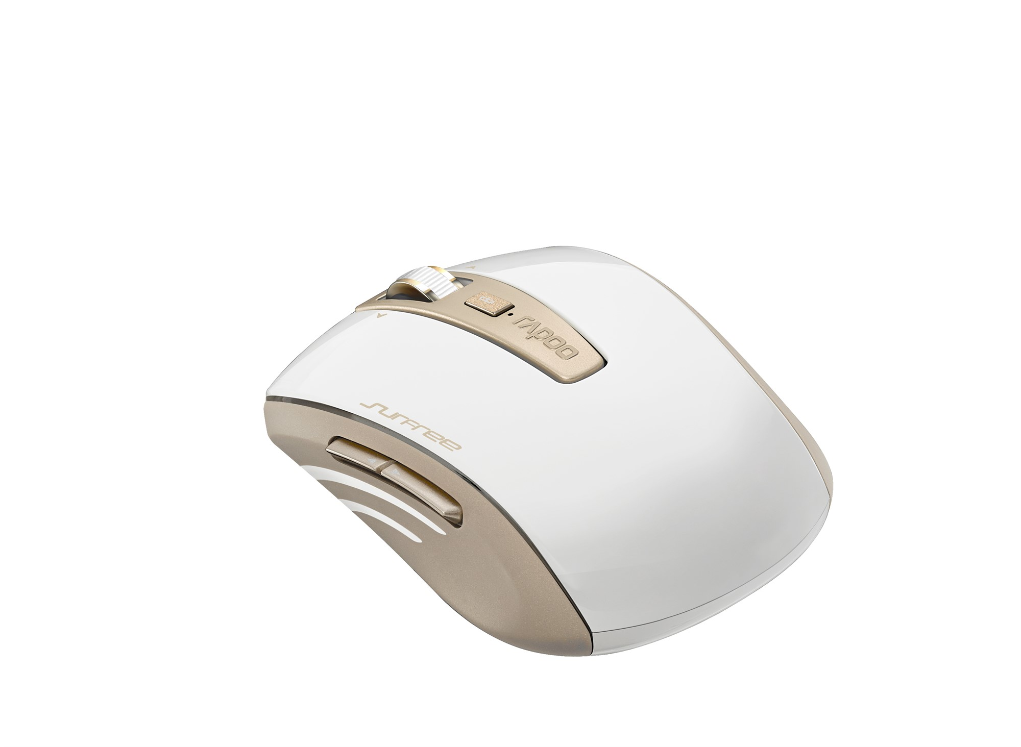 RAPOO 13347 3920P RF WIRELESS LASER 1600DPI AMBIDEXTROUS GOLD, WHITE MICE