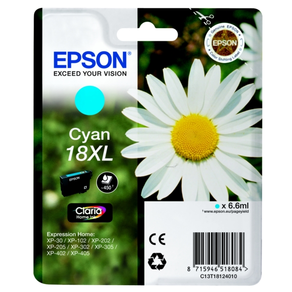 EPSON C13T18124022 (18XL) INK CARTRIDGE CYAN, 450 PAGES, 7ML
