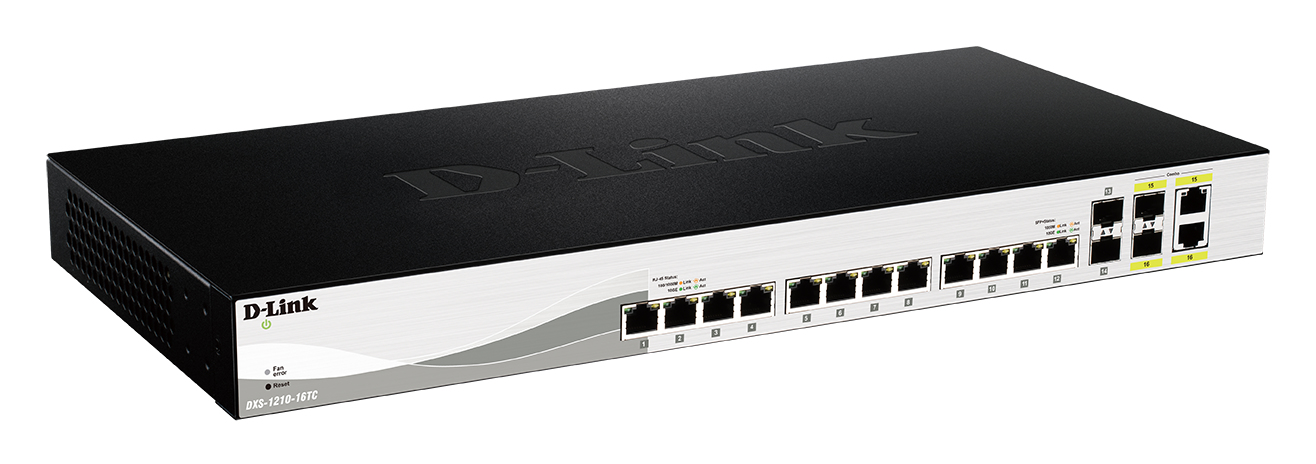 D-LINK DXS-1210-16TC MANAGED NETWORK SWITCH L2 10G ETHERNET (100/1000/10000) BLACK