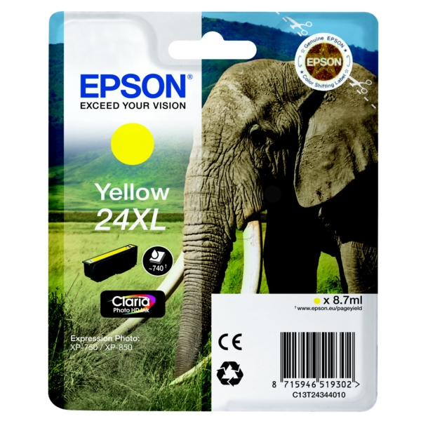 EPSON C13T24344012 (24XL) INK CARTRIDGE YELLOW, 500 PAGES, 9ML