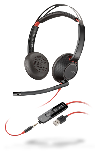 PLANTRONICS 207576-03 BLACKWIRE 5220 BINAURAL HEAD-BAND BLACK, RED HEADSET